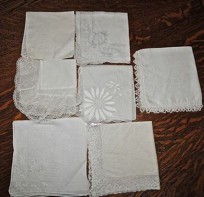 LOT 7 Vintage Wedding Hankies Handkerchiefs Embroidered Tatted Lacey FABULOUS!