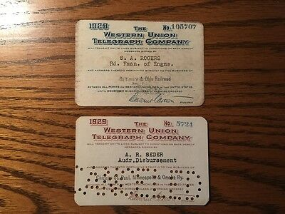 Western Union Telegraph Cards Early Pass Lot Passes