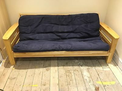 Double Bed Guest Fold up Sofa Futon Pine