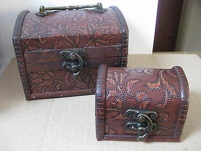 Set Of 2 Rustic Wooden Copper Coloured Trinket Trunks / Boxes