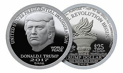 2017 Donald Trump Dollar Inaugural Bu Proof Like Silver Round 1 Troy Oz Norfed