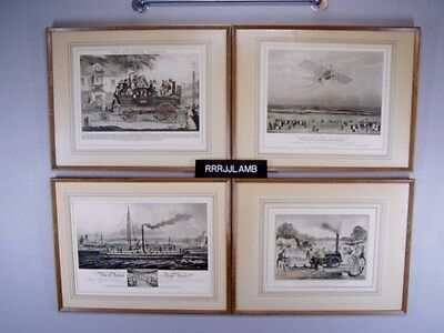 30s PRINTS of 1800s Art STEAM TRANSPORTATION Ship Carriage Airplane Locomotive