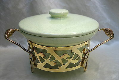 1950's Bauer Pottery 1-1/2 Quart Speckled Yellow Casserole w/Brass Plated Frame
