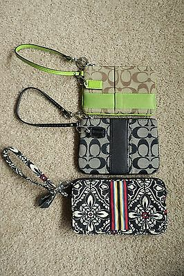 Three (3) Coach and Vera Bradley Zip Wallet Pouch Wristlet Lot