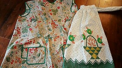 Vintage Aprons 1950s Print Smock Style Green Flower Baskets