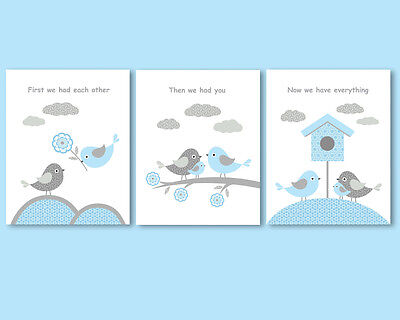 3 prints / posters for nursery, baby boy with quote, birds family, blue, grey
