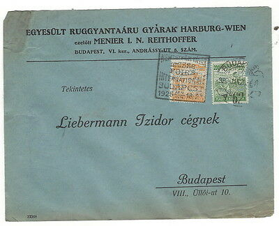 1925, Hungary, cover with perfin stamps