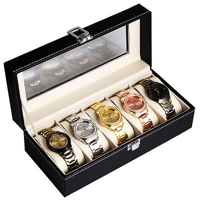 2/3/5 Slot Leather Watch Box Display Case Organizer Glass Top Jewelry Storage