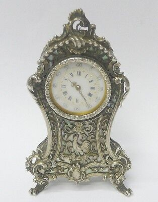 Antique Silver Clock 1900 stock id 8055