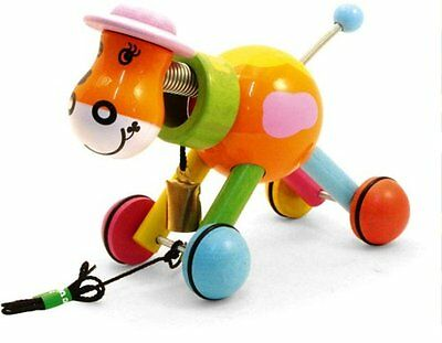 Vilac Wooden pull toy Large cow, Green game, Ecological birth gift