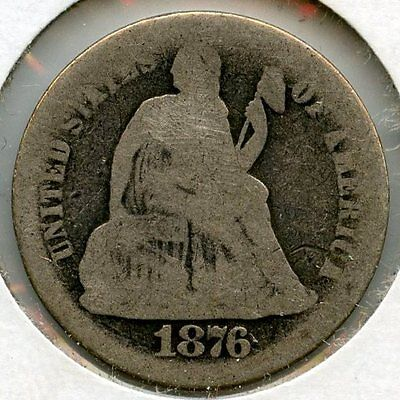 1876-S Seated Liberty Dime - San Francisco Mint - AA831