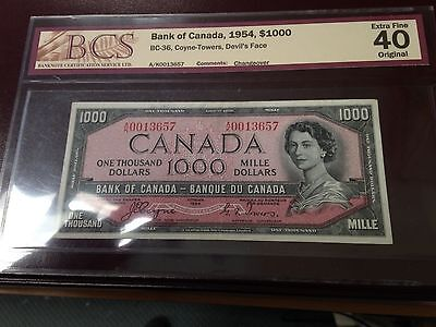 Canada 1000$ 1954 Devil S Face Paper Money - Rare Only 30000 Printed Ef-40