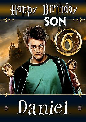 Harry Potter Personalised Birthday Card Grandson Son etc ANY NAME AGE RELATIVE
