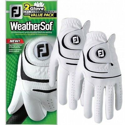 Footjoy Golf Mens Left Hand Weathersof Gloves 2 Pack Deal Clearance White Small