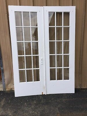 "Cm 214 One Set Antique Painted French Doors 60"" W X 83 1/4""h"
