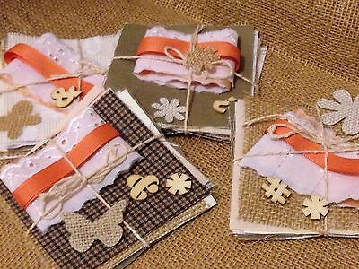 Hessian Fabric Squares Vintage Look Cards / Wedding Invitation Craft FREE UK P+P