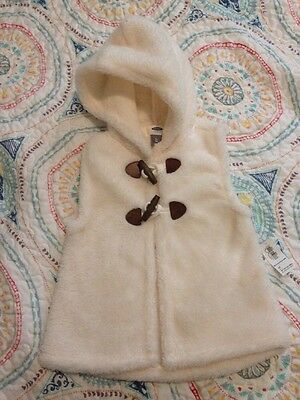 Old Navy Faux Shearling Vest Toddler 3T Ivory Cream Off-White NWT