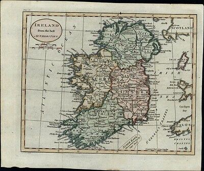 Ireland Connaught Leinster Munster Ulster Dublin Belfast 1795 antique hand color