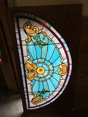 "Rk 3 Antique Arched Stainglass Window Jewels Restored 27 5/8"" X 53.5"