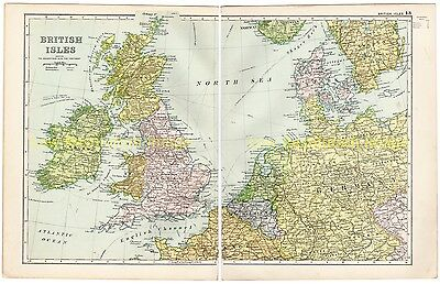British Isles, Connections To Continent, - Antique, Colour Map, 1910