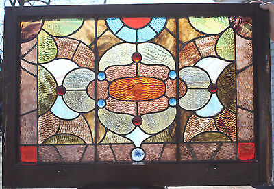 1890s Architectural Antique Vibrant Jeweled Victorian Stained Glass Window