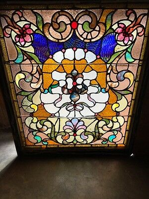Rk 6 Antique Vibrant Stained Glass Landing Window 37 X 45