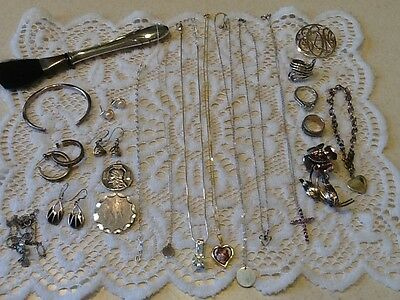 LARGE 925/STERLING JEWELRY LOT, 128+ GRAMS, WEARABLE or SCRAP