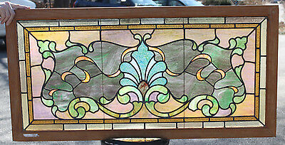 1890s Architectural Antique Art Nouveau Victorian Stained Glass Window