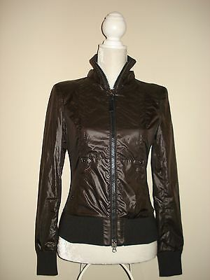 MACKAGE Nylon Jacket with Leather Detailing Fitted Dark Brown Size XS