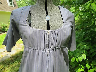 Large Hand Sewn Blue Striped Drawstring Regency Gown 1795-1810  Empire Waist
