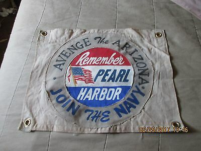 "Wwii  Avenge The Arizona ""remember Pearl Harbor"" Join The Navy  Flag"
