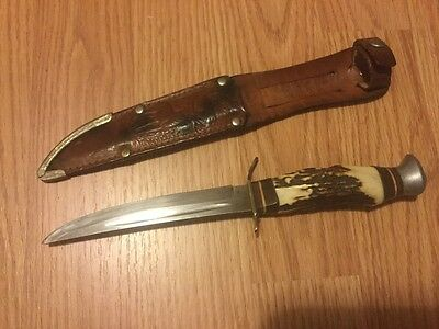 vintage Edge brand 461 solingen germany stag knife with sheath