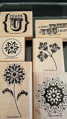 Stampin' Up *TRUE FRIEND* 6pc Mounted Rubber Stamp Set. Retired. 2007. EUC