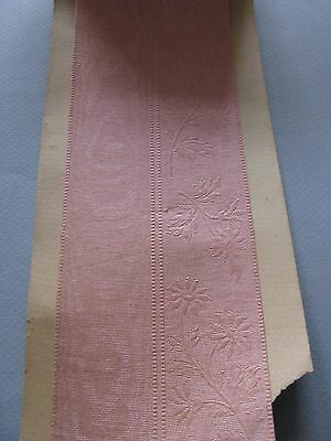 "ANTIQUE SILK RIBBON TRIM WIDE EMBOSSED PINK FLORAL ORIGINAL BOLT 47"" x 3 1/8"""