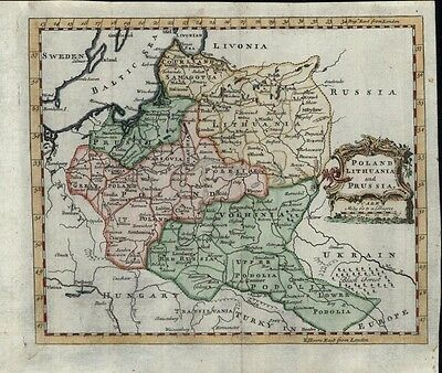 Poland Lithuania Latvia Estonia Baltics Prussia 1760 antique hand color map
