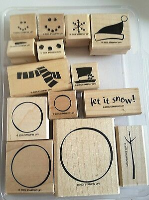 Stampin' Up *COLD PLAY* Mounted Rubber Stamp Set. Retired. 2006. Build Snowman.