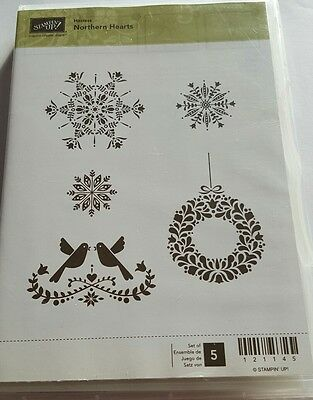 Stampin' Up *NORTHERN HEARTS * 5pc  Clear Mount Stamp. Retired. Hostess edition.