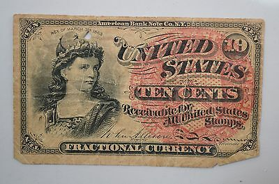 19th Century Ten Cents Fractional Currency *P50