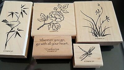 Stampin' Up *ASIAN ARTISTRY* 5 pieces. Mounted Rubber Stamp Set. Retired.
