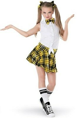 School Girl Preppy Plaid Skirt Jazz Tap Competition Dance Costume Large Child