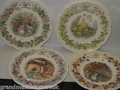 "Brambly Hedge Royal Doulton Set 4 Seasons 8"" Plates Summer Spring Autumn Winter"