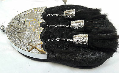 Unique Original Black Seal Skin Full Dress Rampant Lion/Celtic Cantle Sporran