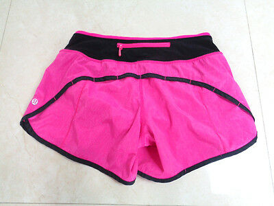 Womans Lululemon Size 2 Pink And Black Run Speed Shorts