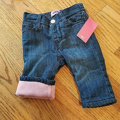 NWT baby girl size 6-12 months jeans with pink fleece lining!