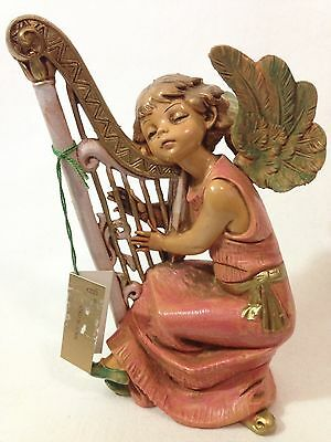 "Fontanini by Roman - Angel Playing Harp Nativity Figurine 5.5"" Depose Italy Tag"