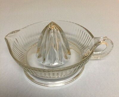 "Vintage Clear Glass 6"" Juicer Reamer With Handle"