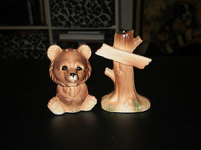 Vintage Bear & Tree Salt N Pepper Shakers  -