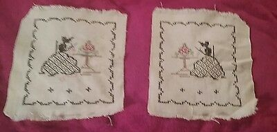 Pair of Small Unframed Cross Stich & Embroidered Linen Samplers 8x9 inches