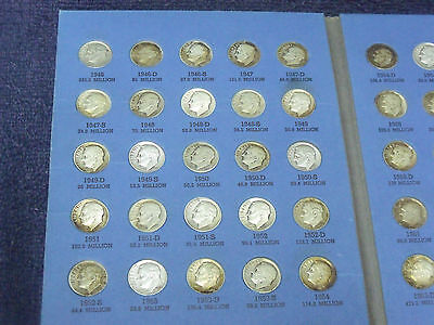 1946-1964 Silver Roosevelt Dimes,Complete P-D-S Average circulated set