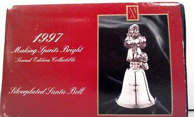 1997 Silverplate   Santa Bell By Madison Ave Limited Edition